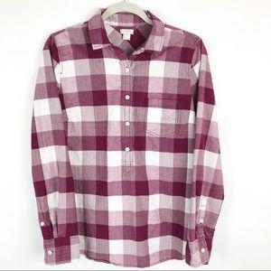 J. Crew White & Pink Plaid Flannel 100% Cotton
